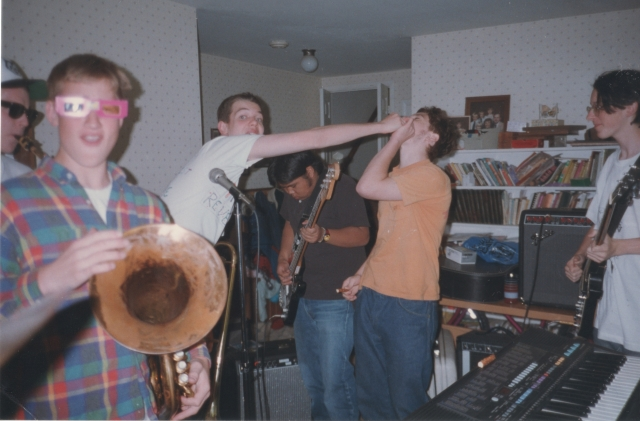 The Preschoolers - late 1994; (l-r) Eddie Macintosh, Luke Mysko, Dave Willemain, Lee Versoza, Scott Gilmore, and Chris Teret (photo by unknown; courtesy of Sarah Kershaw)