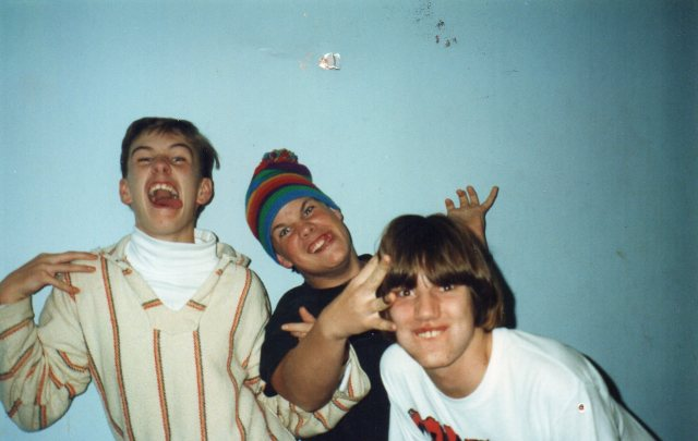 Rainbow Dayglo madness - 1992 - (left to right) Scott Makowske (of The Retarded Dogs and Colostomy Bag Pinata), Dan Thompson (of Colostomy Bag Pinata), and Mike Apichella (of The Retarded Dogs, Within, Superstation, BHFM, etc.); photo by Brandon Hill, courtesy of Scott Makowske.