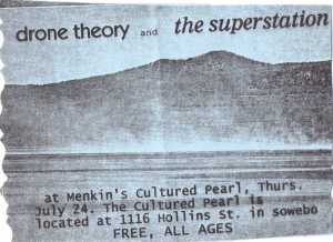 A psychedelic handbill for a Superstation show at west Baltimore restaurant Mencken's Cultured Pearl - 1996 or '97; artist: unknown