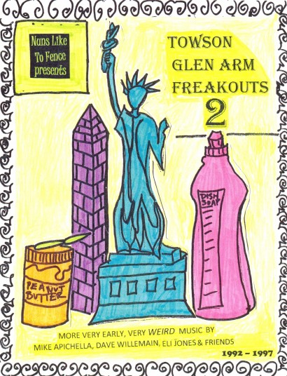 The cover art for Towson-Glen Arm Freakouts 2 by Tricia Lane-Forster (originally created for a flyer advertising a late 1994 concert at Towson State University that featured her band Spastic Cracker)