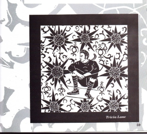 """Tricia Lane - 'Camoflage' - 1993; a reproduction of a lino cut print which appeared as a text illustration in the 1993 edition of Dulaney High School's """"Sequel"""" literary magazine."""