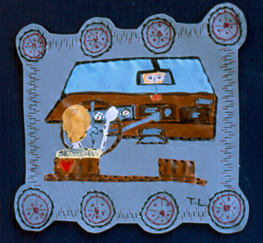 Tricia Lane - 'David Driving Betsy' - 1997 (acrylic paint and stitched vinyl)