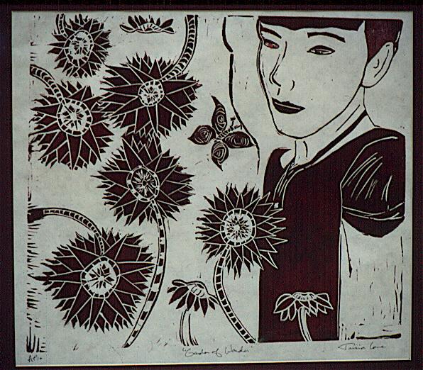 Tricia Lane - 'Garden Of Wander' - autumn 1992; lino cut print