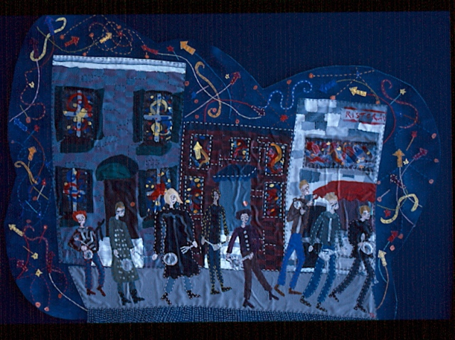 "Tricia Lane - ""New Years Eve"" - 1999 (acrylic paint and stitched vinyl)"