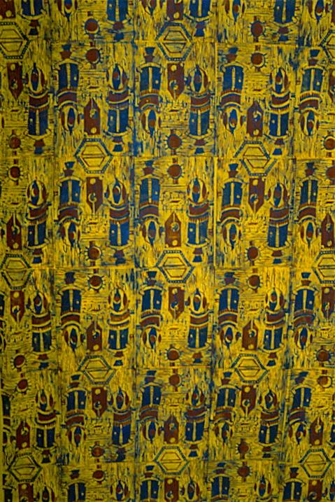 Tricia Lane - 'Sputnik' - 1995; lino cut print on fabric