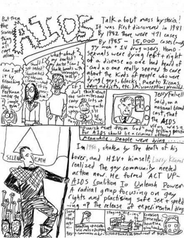 """""""…covering Jesse Helms' house in a giant condom…"""" Page 3 of Violet LeVoit's 1991 self-published comic history 'The Gay Rights Movement' - one of the earliest known Towson-Glen Arm works (courtesy of Matt Bray)"""
