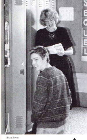 Matt Bray at Dulaney High School in 1993 with English teacher Elizabeth Fanto who also served as advisor for DHS' literary magazine Sequel. In the early/mid 90's Sequel showcased many classic pieces of Towson-Glen Arm writing. (from the 1993 Dulaney High School yearbook; photo by Brian Storms)