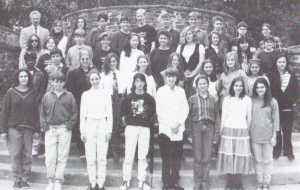 Claire Mysko (2nd on the far right front row, to the left of The Nudists' Alicia Rabins) posing with the staff of the seminal 1994 edition of Towson High's Colophon literary magazine. Other TGA artists appear here also: top right - writer Tyler Roylance and writer Ian McDonald both of Skull & The Cross Bones, and Spence Holman of The Nudists; far right in the 2nd row in the fourth, third, and second spots from l-r: Steph R. of The Preschoolers, writer Beach Carey, Liz Bishop of Loch Ness and Susan Murphy's Law (courtesy of William Jones/Towson High)