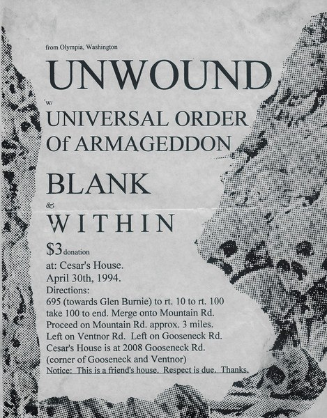 Within's biggest moment was an opening slot at a suburban Annapolis show with two of their biggest influences: Unwound and Universal Order Of Armageddon in the Annapolis, Md. suburbs (flyer design by Colin Seven; courtesy of Lisa Starace)