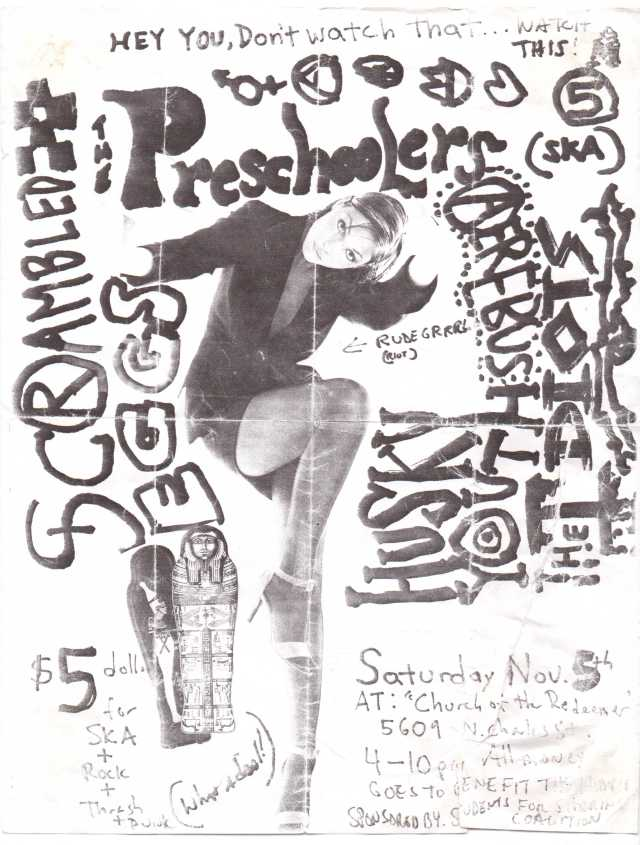A flyer for a 1994 Towson-Glen Arm show that occurred in the affluent Baltimore City neighborhood of Lake Evesham at The Church Of The Holy Redeemer. If you really dig this kinda crazy art and attitude, stay tuned - before the end of this year there will a post up featuring for the first part of an ongoing blog series all about the rise and fall Towson-Glen Arm's biggest band: avant-garde ska provocateurs The Preschoolers! (flyer art/design: unknown)