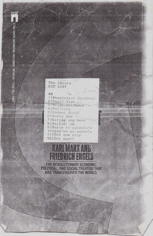 a set list created by multi-media artist Jeff Duncan for his band The Idiots; early 1995 (courtesy of Lou Thomas)