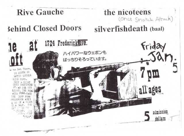 a flyer probably designed by Jeff Duncan and his Behind Closed Doors band mates (Aaron Friedman and Guy Blakeslee); this was made to promote a TGA concert at the Baltimore city venue The Loft  (pardon the condition of this flyer; it was actually ripped off of telephone pole back in the mid 90's.) [courtesy of Shawn Phase]