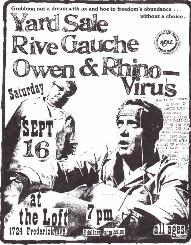 "A flyer by Lou Thomas advertising a September 1995 show that featured his band Rive Gauche. The other bands who played this gig weren't Towson-Glen Arm groups. Note the holy seal of the Universal Life Church in the upper right corner. Thomas was an actual ordained reverend and member of this non-denominational mail order ""faith"" which was supported by many TGA kids as a means of expressing opposition to conventional organized religion (i.e., among the church's many untraditional policies, it clearly encourages atheists to join up; for more on  the ULC check this website: www.themonastery.org/aboutUs)."