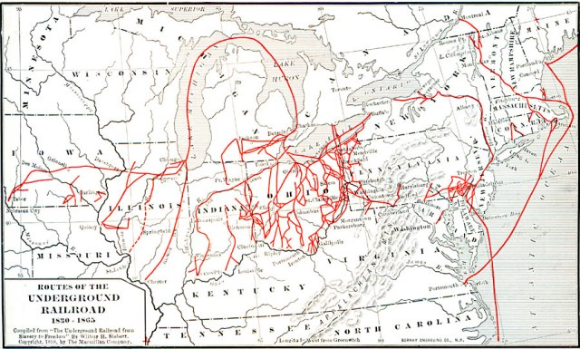Map of the Underground Railroad by Wilbur H. Siebert, 'The Underground Railroad from Slavery to Freedom', The Macmillan Company, 1898.