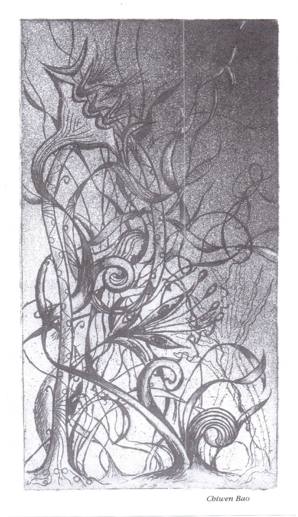 "'In The Midst' - intaglio print, 1996 (originally published in the 1996 edition of Dulaney High School's ""Sequel"" literary magazine; courtesy of Greg Storms)"