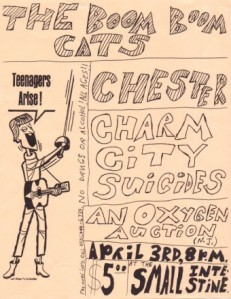 """Lay siege to Dullsvile!"" A flyer advertising a 1998 Towson-Glen Arm concert at Baltimore all-ages venue The Small Intestine; design by Mike Apichella with some graphics taken from a 1960's ad for Harrisburg, Pa.'s J.H. Troup Music Co., an ad that was reprinted in the first edition of Mike Kuzmin's Pa. 60's rock discography 'Sounds From The Woods'."