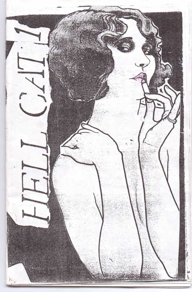 "Mysterious, provocative cover art from the first issue of Hell Cat zine designed and written by Laura Burke and Lara Oster in 1995. Laura Burke and Lara Oster were part of the legendary ""L Crew"" , a clique-within-the-clique of the TGA scene whose moniker was inspired by the fact that most of the Crew had first names that began with the letter ""L"". This group produced an enormous quantity of rare, limited edition zines and flyers which contained many aesthetic/political elements of both the 90's Riot Grrl movement and Towson-Glen Arm. (courtesy of Lara Oster)"