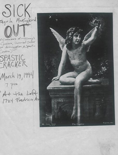 "a flyer designed by Tricia Lane-Forster to promote the only live show ever to feature TGA improv music group Out; the central image is a slightly altered reproduction of the 1891 painting 'Le Captif' by William Adolphe-Bouguereau (courtesy of Lisa Starace) Shortly after originally posting this, Tricia-Lane Forster shed some light onto the origins of the image featured here and many of the other non-original images that she and Lisa Starace used in show flyers they designed; here's a quote from that message: 'Like most of our flyers with images like the one above, I believe we found it in the Towson State University library's discard pile.  There was a section in the library that had images from magazines and books carefully cut out and glued to tag board.  I believe they were used for teacher resources.  They usually had a description written in pencil at the bottom explaining what the image was.  For example:  ""fruit,""  ""gas station,"" etc.  Lisa and I would frequent the box labeled ""discard pile"" and took home many images from there.  The bottom of the tag board would be stamped with a rubber stamp:  DISCARD and they were free.  We had images hanging in our dorm room from there and I probably still have some...somewhere...  The discard pile was definitely one of my favorite things in college.  I doubt anything like it exists anymore...  I think we went there weekly.  I believe it was in the teacher resource center.  I often wondered who decided which images were too obsolete to be used anymore.  Some were really old and some were so strange."""