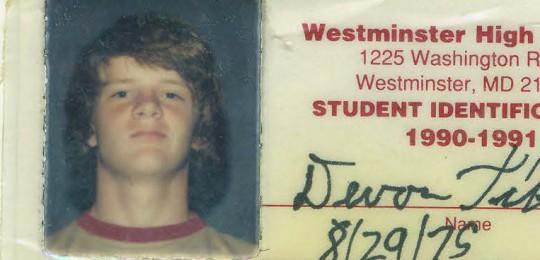 devon till 1990-1991 westminster high i.d. card photo