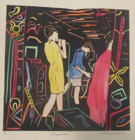 tricia lane 'rapeseed' linocut-watercolor 1992