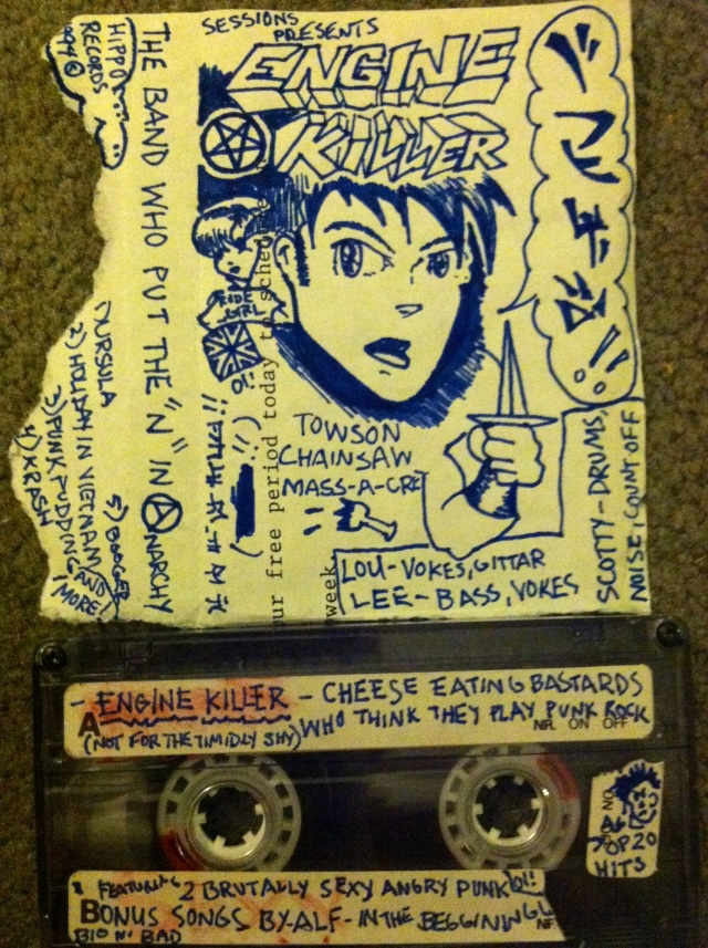 Cover art designed, lettered, and drawn by Lee Verzosa for a one of a kind 1994 tape featuring music by Engine Killer and A.L.F. (courtesy of Clint Nichols)