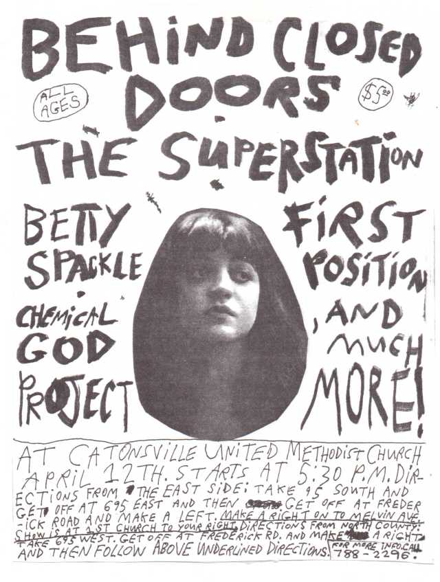 A show flyer designed & lettered by Mike Apichella. The flyer advertises a mid-90's concert with the TGA bands Behind Closed Doors, The Superstation, and First Position. The design prominently features a photo of opera singer Rosa Ponselle - her infamously decadent lifestyle and powerful singing made her one of the most colorful figures of 20th century classical music.
