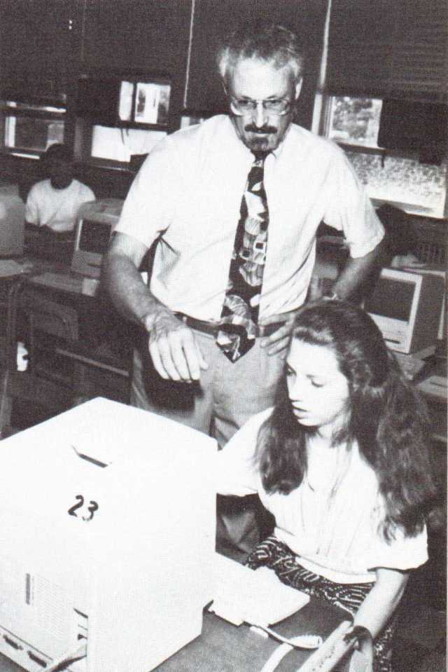 Bill Jones working with student Caroline Mitten at Towson High School circa 1994