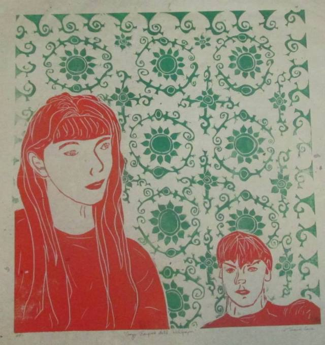 tricia lane-forster 'crazy banquet hall wallpaper' linocut 1992