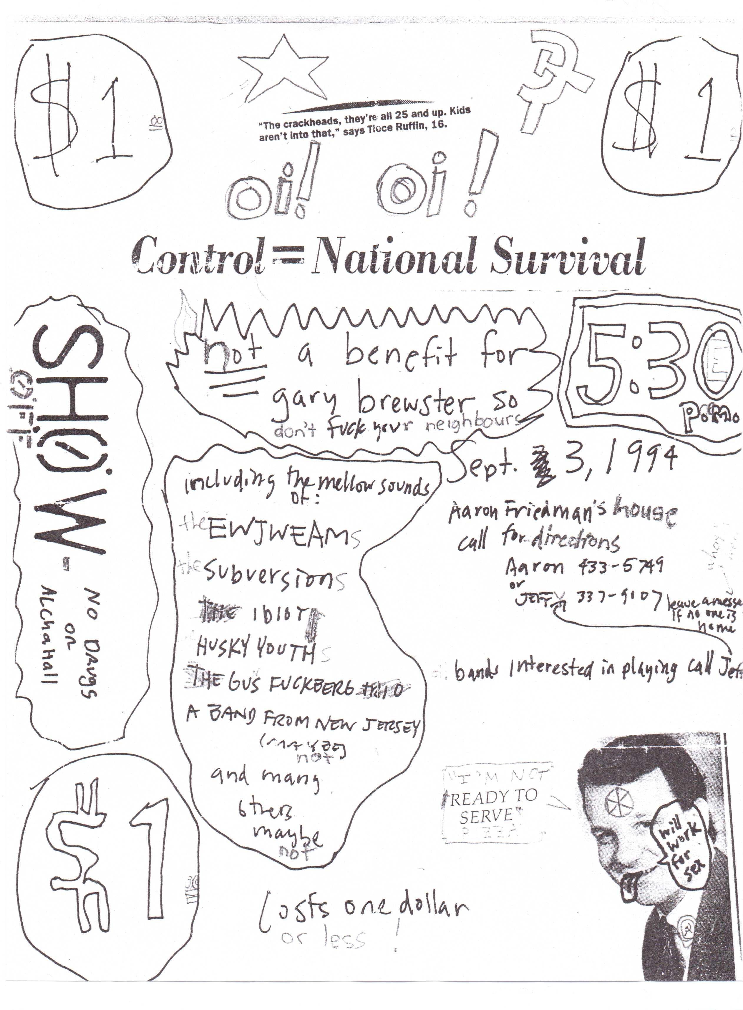 TEAM aka e.w.j.e.a.m. show flyer Sept 3rd 1994